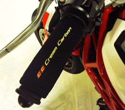 Cream Carbon Rechargeable Heated Over Grips - Kawasaki ZZR1400 Z800 Z1000