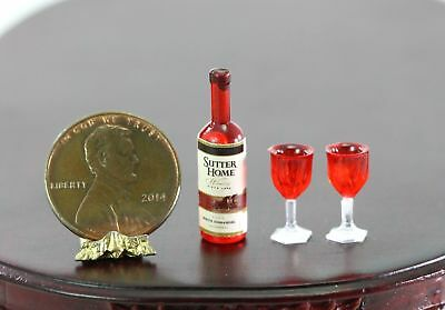 Dollhouse Miniature Bottle of Red Wine & 2 Glasses