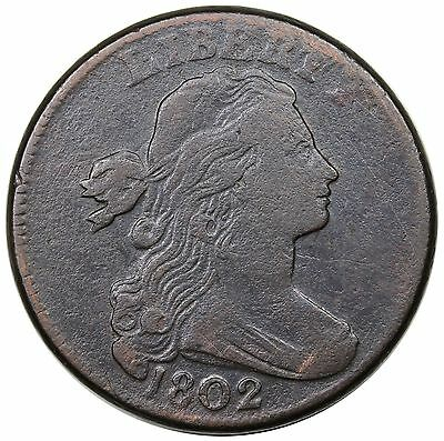 1802 Draped Bust Large Cent, S-232, LDS, reverse cud, VF detail
