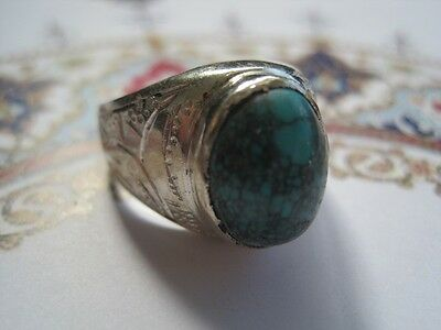 Sterling Silver Ring With Turquoise - Middle Eastern Islamic Handmade (Men)