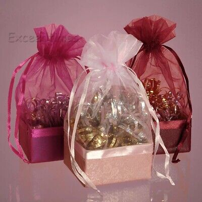 100x ORGANZA Gift Bags Wedding Favors Party Decor Sheer Candy Jewellery Pouches