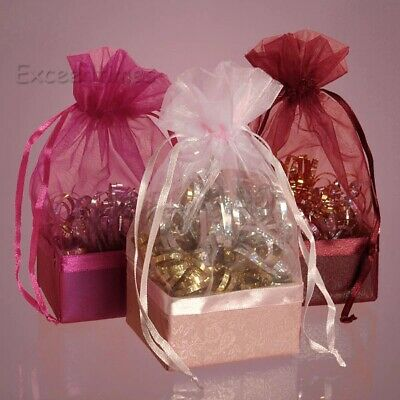 100x ORGANZA Gift Sweet Bags Wedding Favors Party Sheer Candy Jewellery Pouches