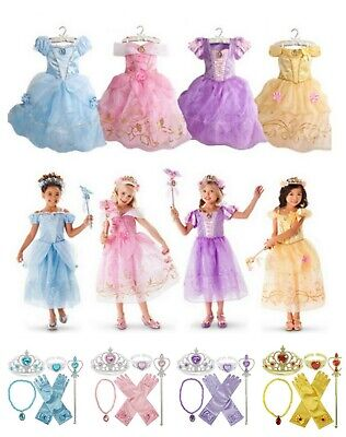 Girls Princess Costume Fairytale Dress Belle Cinderella Rapunzel Aurora Disney