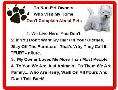 Funny Dog West Highland Terrier House Rules Refrigerator / Magnet Gift Card Idea