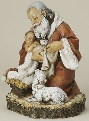 "11.5""H Kneeling Santa  Holding Baby Jesus  Collectible Figure by Joesph's Studio"
