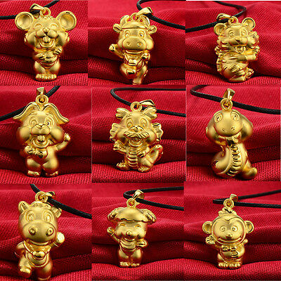 Exquisite 3D Gold Plated Animal Chinese 12 Zodiac Necklace Lovely Gift New