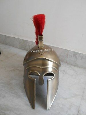 Medieval Greek Corinthian Helmet with Red Plume- ANTIQUE Spartan Costume Armour