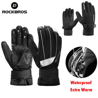 ROCKBROS  Bike Winter Windproof Outdoor Sports Cycling Full Finger Gloves Black