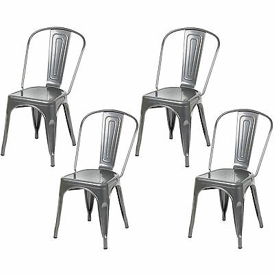 Hartleys Silver Industrial Metal Dining Chair Cafe/bistro Vintage Stacking Seat