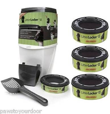 Litterlocker II Cat Kitten Litter Locker Disposal System Pail + 3 REFILLS