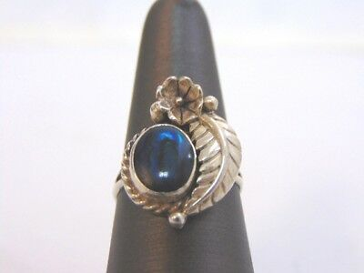 VTG NAVAJO STERLING SILVER EAGLE FEATHER BLUE STONE RING SIGNED STC 4.2g E1541