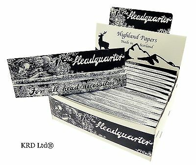 HIGHLAND HEADQUATERS Kingsize Cigarette Rolling Papers & Tips 24 Books Full Box