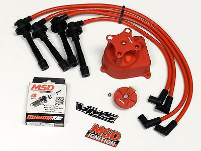 Distributor Cap + Rotor + Wires + Msd Spark Plugs For 99-00 Honda Civic B16 Rd