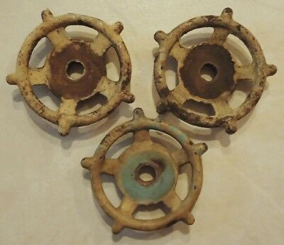 (3) Vintage  Oil Refinery Cast Iron Water Valve Handles Steampunk Lot #27