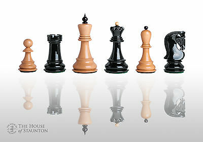 """The Zagreb '59 Chess Set - Pieces Only - 3.875"""" King - Black and Natural Lacquer"""