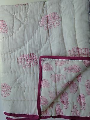 Elephant & Paisley Boho Inspired Baby/toddler Quilts Krisna Design Pink