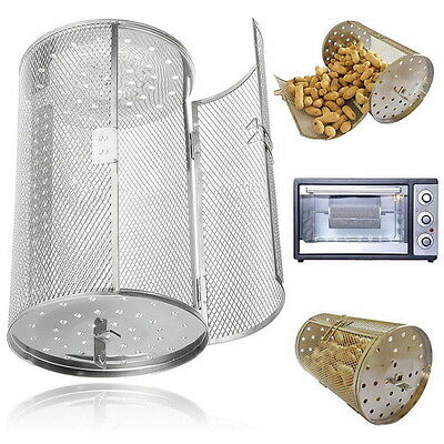 Silver Drum Oven Roaster Coffee Beans Peanut Basket BBQ Grill Rotisserie Grill E