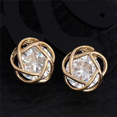 Gold Surgical Stainless Steel Round Clear CZ Stud Earrings Cubic Zirconia Prong