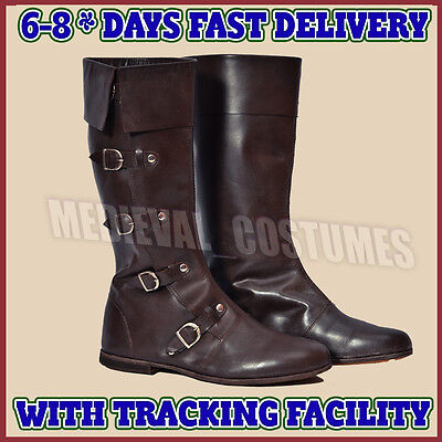 Medieval Leather Boots Brown Re-enactment Mens Shoe Larp Role Play Costume A62