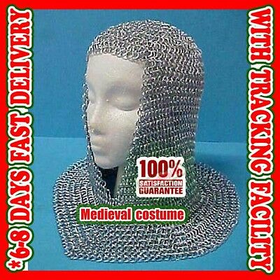 Chainmail Coif Aluminum V neck Chainmail Hood Medieval Reenacment Armor Costume