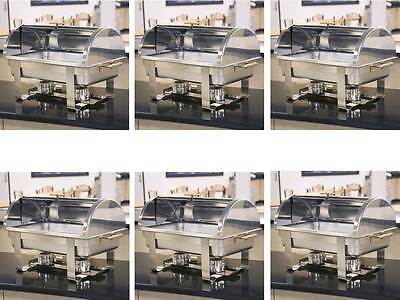6 Roll Top Deluxe Full Size Rectangle 8 Qt. Stainless Steel Chafing Dishes