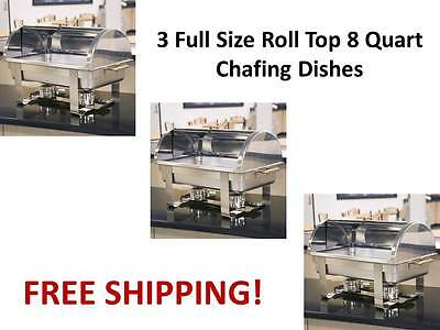 3 Roll Top Deluxe Full Size Rectangle 8 Qt. Stainless Steel Chafing Dishes