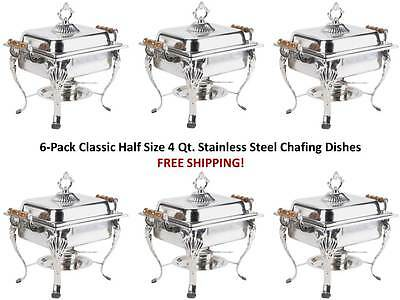 6 Choice Classic Half Size 4 Qt. Stainless Steel Chafing Dishes Catering