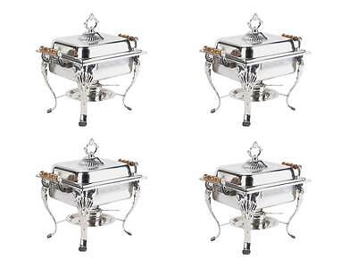 4-Pack Choice Classic Half Size 4 Qt. Stainless Steel Chafing Dishes Catering