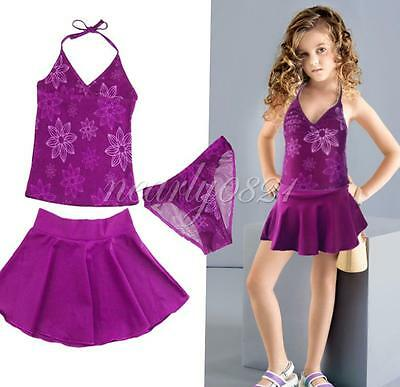 3PCS Girls Kids Halter Swimsuit Floral Tankini Set Bathing Suit Swimwear SZ 3-9Y