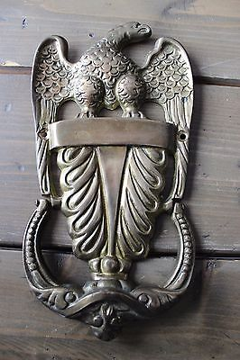Vintage Cast Brass Door Knocker Antique Eagle Shell Bird