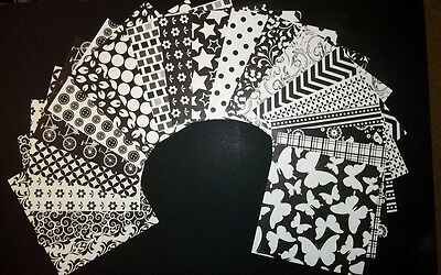 "20 Stunning *BLACK & WHITE* Scrapbooking/Cardmaking Papers 15cm x 15cm (6"" x 6"")"