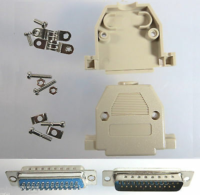 DB25 Male D-Sub Solder Type Connector w/Beige Backshells Hoods