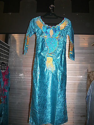 AFRICAN 2PC LADIES DRESS  SATIN AND BLUE AND YELLOW  embroidery • EUR 180,01