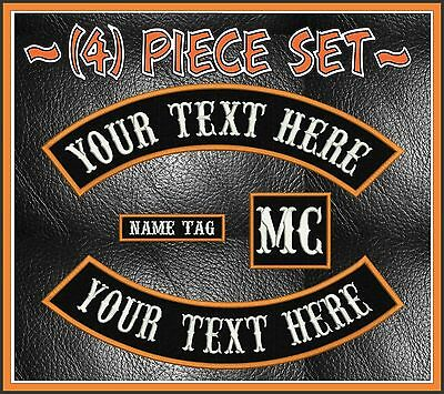 """Custom Embroidered 4 Piece 13"""" Mc Rocker Patch Set Outlaw Biker Usa Motorcycle"""