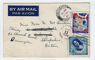 Dominican Republic: 1944 Air Mail Cover To England (C13976)