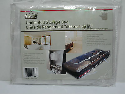 "New Clear Plastic Zippered Under Bed Storage Bag 42""l X 18""w X 6""d"