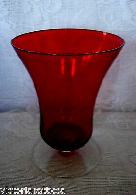Collectible Ruby Red & Crystal Blown Glass Footed Tealight / Votive / Vase