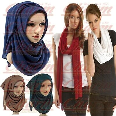 Winter Neck Head Scarf Jersey Stretchy Hijab Large Lycra Maxi Shawl Wrap Sarong
