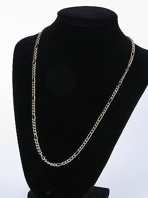 """Vintage estate 14K yellow gold plated costume 4mm figaro chain necklace 20"""" long"""