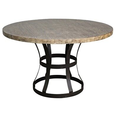 "50"" Round Dining Table Solid Pine Wood Top Iron Base Brass Finish Rustic"