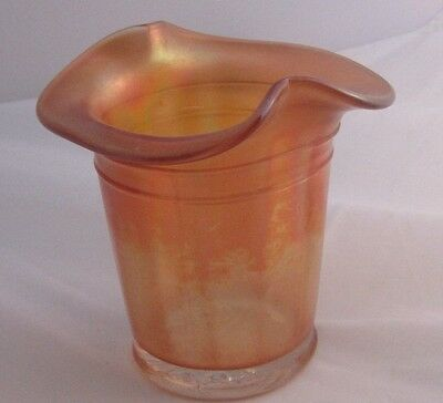EAPG    Dugan Glass Band Hat Vase     Amber  Iridescent