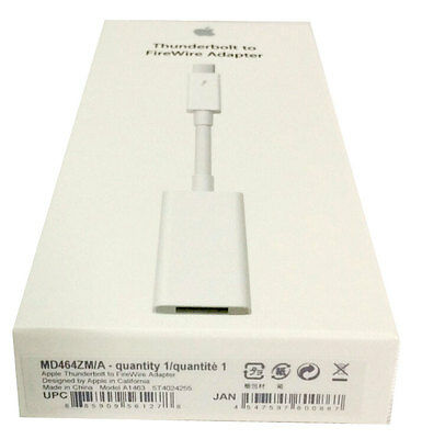 Apple Thunderbolt to FireWire Adapter Cable MD464M/A for Mac Computer Genuine
