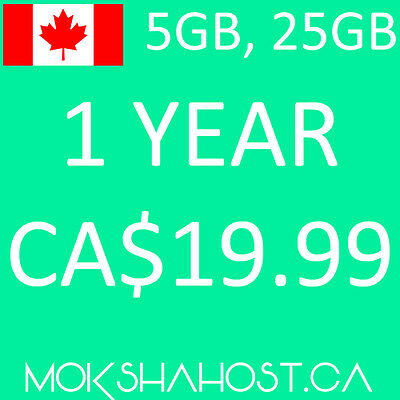Canadian Web Hosting 1 Year Canadian Datacenter, 5GB Space Unlimited Sub Domains
