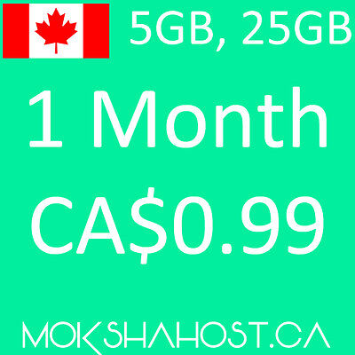 Canadian Web Hosting 1 Month Canadian Datacenter, 5GB Unlimited Sub Domains