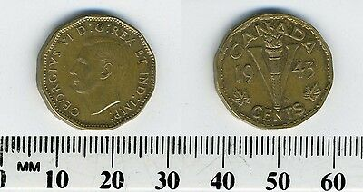 Canada 1943 - 5 Cents Tombac Coin - George VI - Victory - WWII mintage - #1