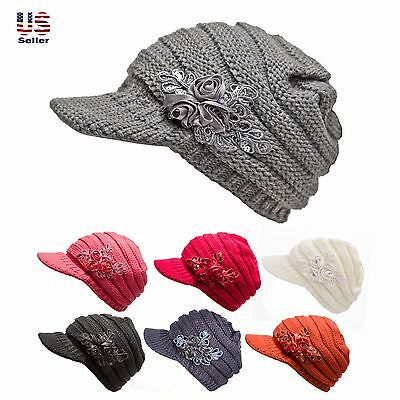 4837a17af WOMENS CABLE KNIT Hat with Flower Accent Cute Visor Beanie Cap Soft Warm  Fashion