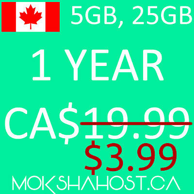 Canadian Web Hosting 1 Year Canadian Datacenter, 5GB SSD Unlimited Sub Domains