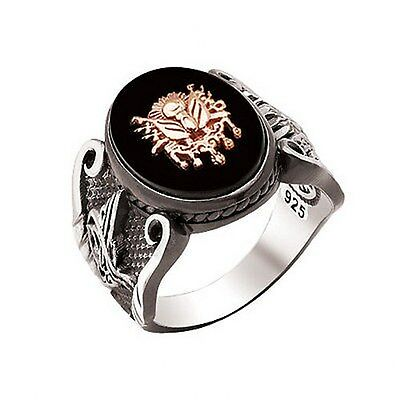 UNIQUE! Turkish Ottoman ONYX STONE 925 K STERLING SILVER MEN'S RING SiZe 6 to 14