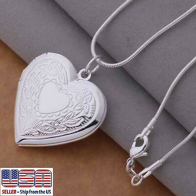 """925 Sterling Silver Heart Locket Photo Pendant  Necklace 18"""" + Gift Pouch"""