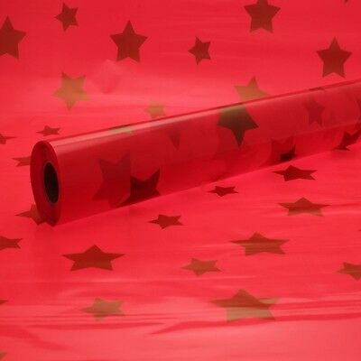 Florist Cellophane Wrap Red Tint With Stars  Motif 1M - 100 Meters